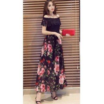 Korean Charlene Floral Chiffon Maxi Dress