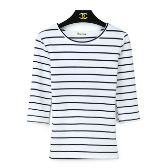 Korean cotton Slim fit Plus-sized bottoming shirt Women's Top (Striped wide white 862 # striped)