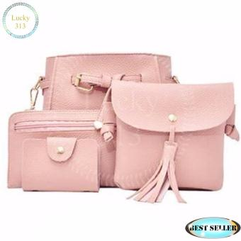 Korean Design 4 in 1 Fashion Shoulder Bag Leather (Peach)