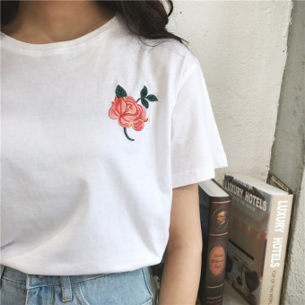 Korean embroidered round neck bottoming shirt embroidered short-sleeved t-shirt (White)