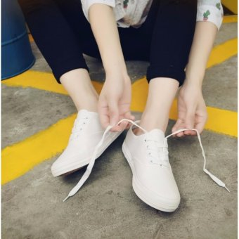 Korean Fashion White Canvas Sneakers with Lace - 3