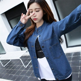 Korean Fashion Women Basic Coats Autumn Spring Women Denim JacketNew Long Sleeve Slim Female Jeans Coat Casual Womens Outwear - intl - 2