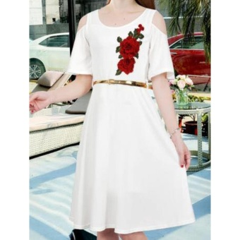 Korean Kathleen Crepe Embroidered Cold Shoulder A-Line Midi Dress with Belt (White)
