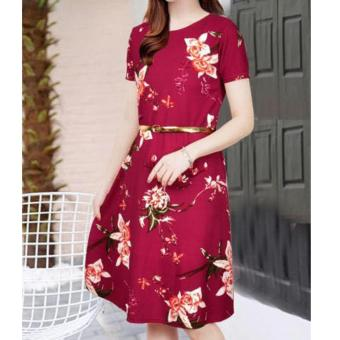Korean Kinsley Crepe Floral A-Line Midi Dress with Belt (Maroon)