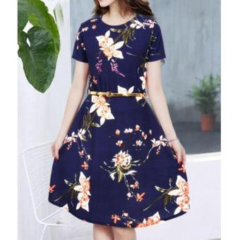 Korean Kinsley Crepe Floral A-Line Midi Dress with Belt (Navyblue)