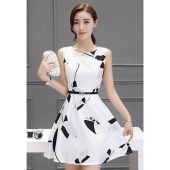 Korean Kirra Silk Graphic A-line Mini Dress w/ Belt (White)
