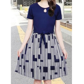 Korean Lucy Crepe A-Line Midi Dress with Belt (Navyblue)
