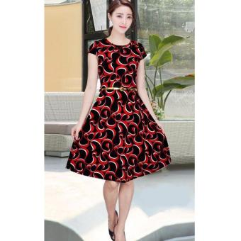 Korean Mariah Graphic A-Line Midi Dress w/ Belt (Black)