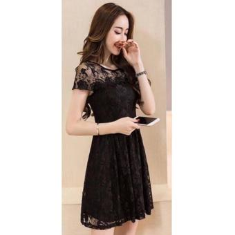 Korean Mellicent Lace Midi Dress (Black)
