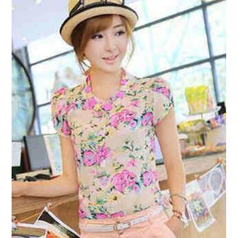 Korean Mira Floral Chiffon Layered Sleeve Blouse (Pink) - 2