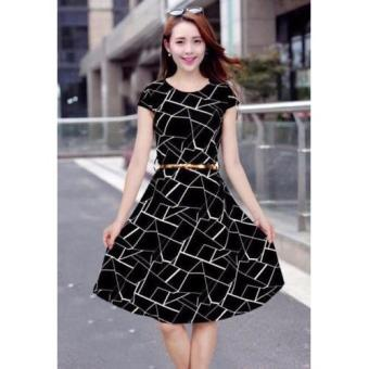 Korean Mitch Geometric A-Line Midi Dress w/ Belt (Black)