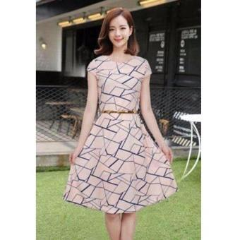 Korean Mitch Geometric A-Line Midi Dress w/ Belt (Pink)