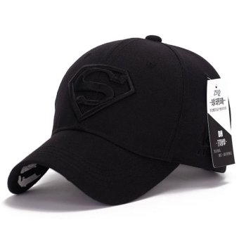 Korean new sun hat male ladies couple Superman baseball cap fashion golf hat(Black) - intl