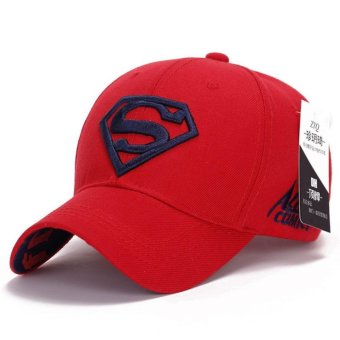 Korean new sun hat male ladies couple Superman baseball cap fashiongolf hat(Red-blue) - intl