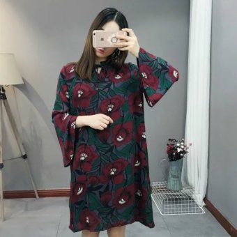 Korean Series C90 chiffon new frilled Large flowers dress