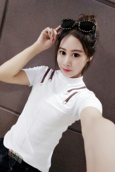 Korean Short sleeve Slim fit Slimming effect bottoming shirt T-shirt (White shoulder four color of the beaded)
