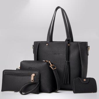 Korean style 4 in 1 Jingpin PU Leather Shoulder Bag Set (Black)