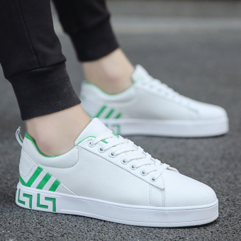 Korean-style autumn casual shoes men shoes (White and green)
