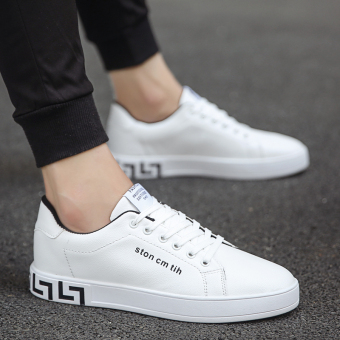 Korean-style autumn men's casual shoes men shoes (White and black)