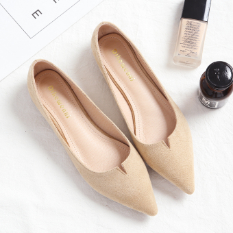 Korean-style autumn New style pointed shoes flat shoes (Practice Apricot)