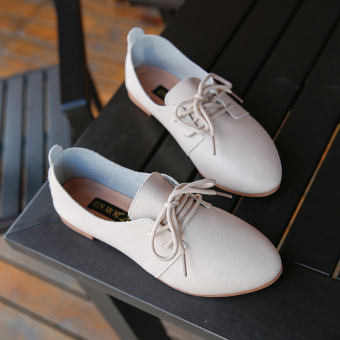 Korean-style autumn New style pointed small leather shoes women's shoes (Beige)