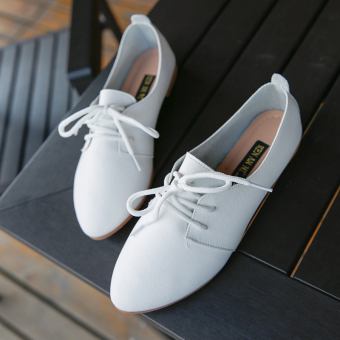 Korean-style autumn New style pointed small leather shoes women's shoes (White)