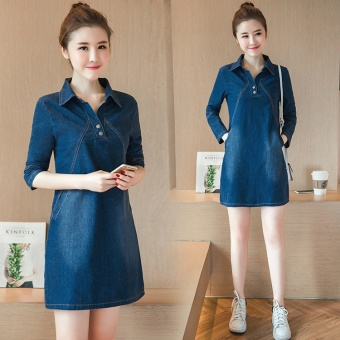 Korean-style autumn New style Slim fit denim dress