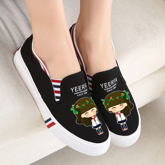 Korean-style autumn New style students a pedal shoes (Black ring girl)