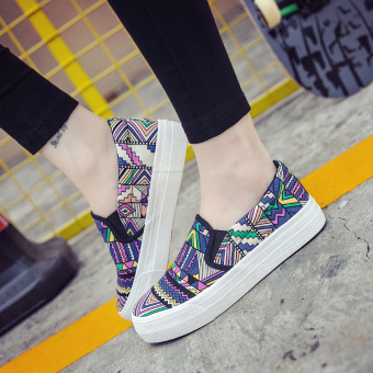 Korean-style autumn thick bottomed canvas shoes (Graffiti purple)