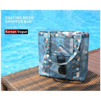 Korean Style B-001 Coating Mesh Multi - functional Clothing Cosmetics Package Shopping Bag Beach Tote Bag (Blue)