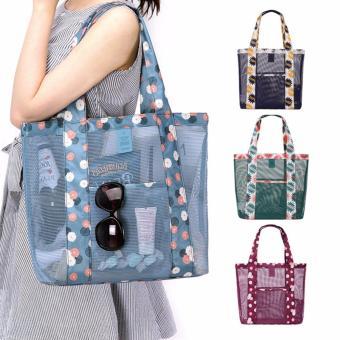 Korean Style B-001 Coating Mesh Multi - functional Clothing Cosmetics Package Shopping Bag Beach Tote Bag (Blue) - 4