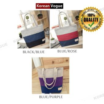 ... Korean Style B-006 Canvas Fashion Striped Women Large Capacity Shopping Tote Bag Student Shoulder ...