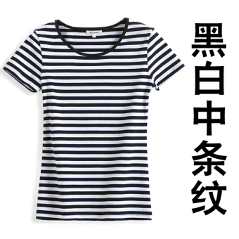Korean-style black and white cotton short-sleeved Striped t-shirt Short sleeve Top (Black and white in the short-sleeved)