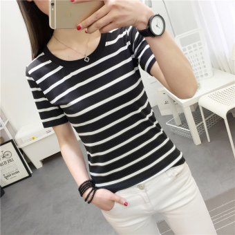 Korean-style black and white Slim fit slimming T-shirt (9255 * Black) (9255 * Black)