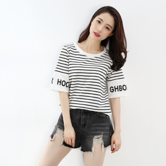 Korean-style black and white women's short sleeved New style loose Top T-shirt (7016 # White)