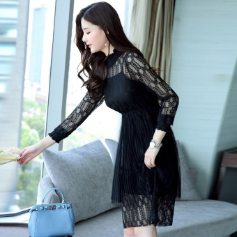 Korean-style black female New style bottoming skirt dress (Black)