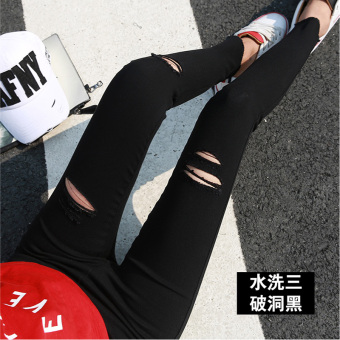 Korean-style black female outerwear long pants leggings (Washed black three with Holes)