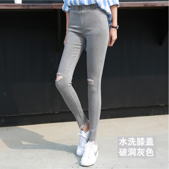 Korean-style black female outerwear long pants leggings (Washed gray knee with Holes)