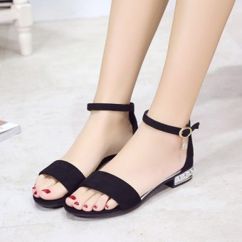 Korean-style black female summer women's shoes New style sandals (Black)