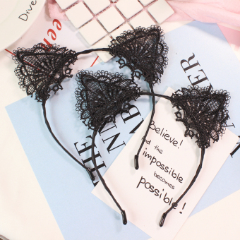 Korean-style black porous lace headband hair bands