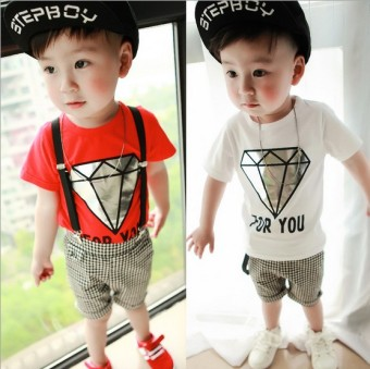Korean-style boy's summer New style baby children's clothing (Diamond overalls Suit white) (Diamond overalls Suit white)