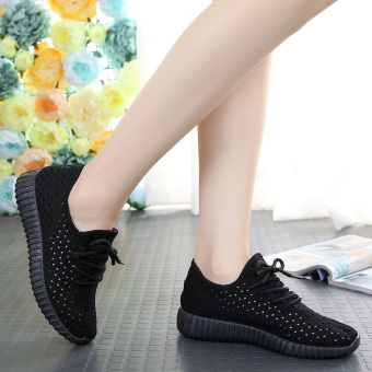 Korean-style breathable network female New style porous casual shoes Shoes (Black)