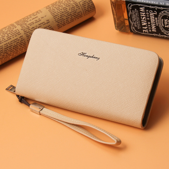 Korean-style business clutch bag long zip wallet (Beige)