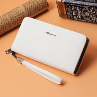 Korean-style business clutch bag long zip wallet (White)