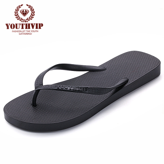 Korean-style candy flip-flop non-slip sandals flip-flops (Black)