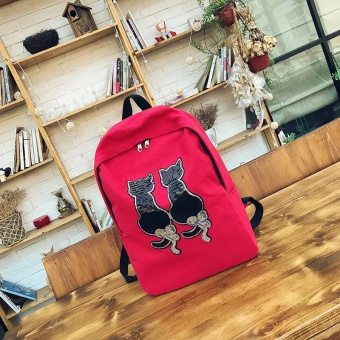 Korean-style canvas campus backpack New style shoulder bag (Red) (Red)