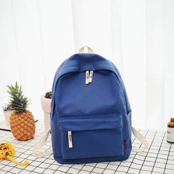 Korean-style canvas female New style student school bag backpack (Blue large)