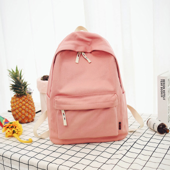 Korean-style canvas female New style student school bag backpack (Deep pink large)