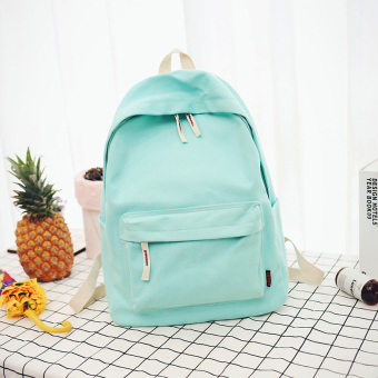 Korean-style canvas female New style student school bag backpack (Light Green large)