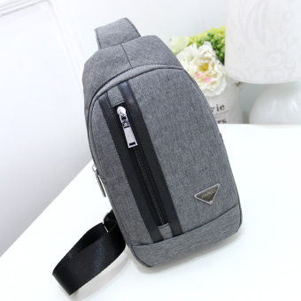 Korean-style canvas men's chest pack Stylish bag (Gray.)